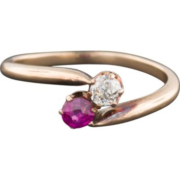 Antique Ruby and Diamond Moi et Toi Bypass Ring, 14k Gold Ring