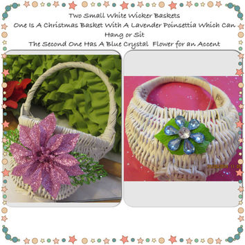 White Wicker Flat Back Wall Hanging Basket With Light Purple Poinsettia Holiday Glitter Flower-One With Blue Crystal Flower Accent-Set of 2