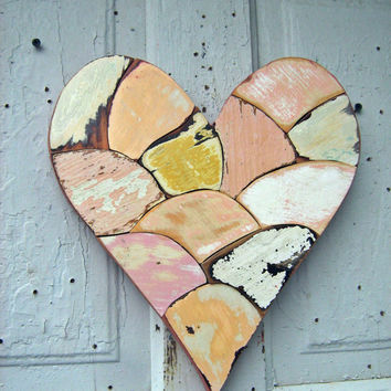 Wood Mosaic Heart, Reclaimed Wood Art, Pink and Peach Wooden Wall Heart