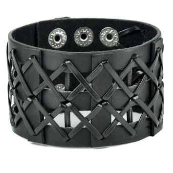 Criss Cross Lace Leather Wristband Gothic Jewelry
