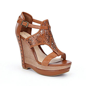 Gianni Bini Rissa Laser-Cut Wedge Sandals - New Honey