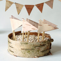 Cake Bunting  Birch Bark  Rustic Woodland by jadenrainspired