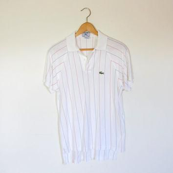 80s vintage IZOD LACOSTE polo / Mens vintage t shirt / 1980s white striped retro shirt