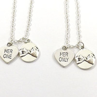 2 Her One Her Only Pinky Promise Necklaces, LGBT Necklaces,  Lesbian Couples Jewelry, Gay Pride,  Hers Necklaces