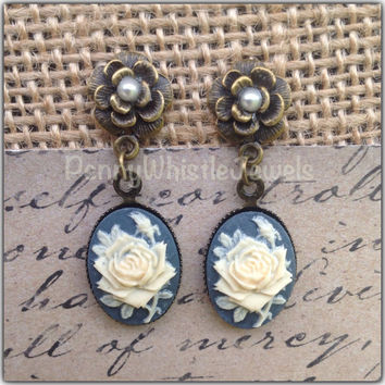 Rose Cameo Earrings, Blue Earrings, Dangle Earrings, Bridesmaid Gift, Bridal Jewelry, Rose Jewelry, Cameo Jewelry, PennyWhistleJewels