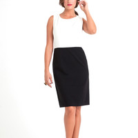 Sabrina Stretch Ponte Combo Sheath Dress in Ivory/Black