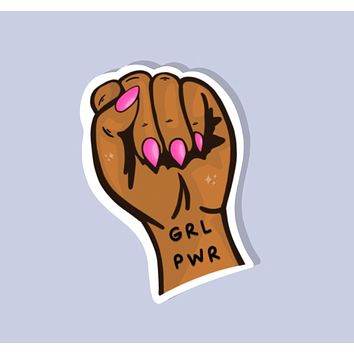 Girl Power Clenched Fist Glossy Sticker