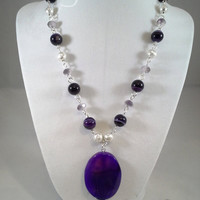 Purple agate and crystal necklace, purple necklace, purple agate necklace by Toads Lily Pond Jewelry