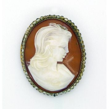 Vintage Hand Carved Cameo With Faux Pearl Ring