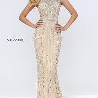 Long Beaded Open Back Halter Prom Dress by Sherri Hill