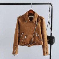 Women Leather Velvet Zipper Outerwear Jacket a13195