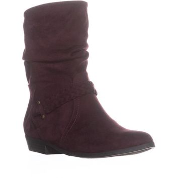 Indigo Rd. Jalena Braided Strap Slouch Ankle Boots, Dark Red, 9.5 US