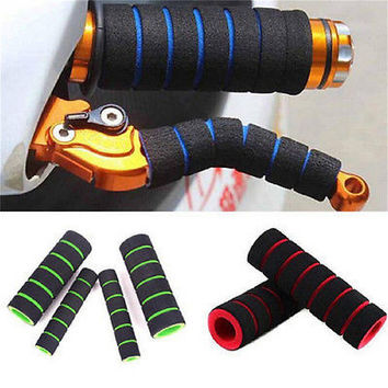 2 Pair Motorcycle Bicycle HandleBar Grip + Brake Clutch Lever Soft Sponge Cover