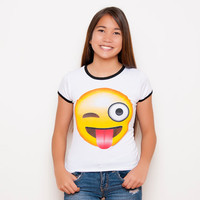 Emoji Shirt - Tongue Out Emoji - Wink Emoji - Emoji - Funny Shirt - Tumblr Shirt - Teen Fashion - Ringer Tee