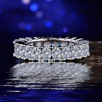 White Gold Plated CZ Crystal Pave Eternity Ring