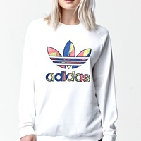 Adidas Paris Logo Crew Neck Sweatshirt - Womens Hoodie - White