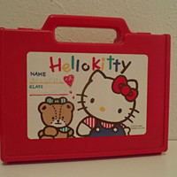 Vintage Hello Kitty Pencil Box Crayon Case, 1988, Vintage Sanrio Kawaii
