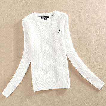 Many Colors Sweaters Womens Winter Fashion Twist O Neck Long Sleeve Knitted Jumper Vintage Pullovers Basic Chunky Cable Sweater