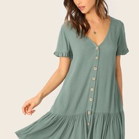 Frilled Cuff Button Front Drop Shoulder Dress