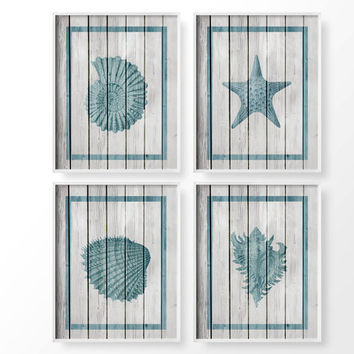 Seashell Art Nautical Sea Life Set Of 4 Rustic Beach Decor Coastal