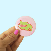 frog pin, frog badge, frog button, kawaii pin, silly badge, fruit pin, fruit badge, cute badge, cute pin, 58mm badge, pey chi, berry pin