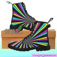 RAINBOW PRISM Combat Boots Rave Clothing Music Festival Clothing Rave Outfit Women Burning Man Clothing Rave Wear Psychedelic Clothing