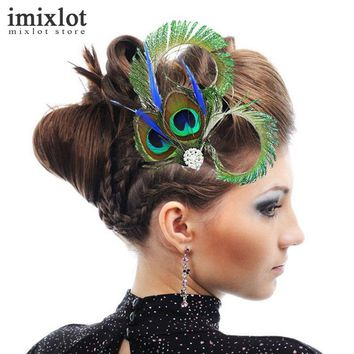 Imixlot 1 Piece Women Colorful Peacock Feather Headband Crystal Rhinestone Wedding Hair Clip Hairpin Bridal Dance Party Gift