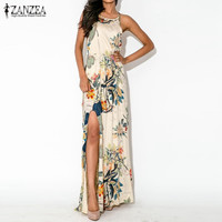 2016 Summer Women Printed Long Beach Dress Ladies Sexy Strapless Sleeveless Casual Loose High Waist Split Maxi Dress  Plus Size