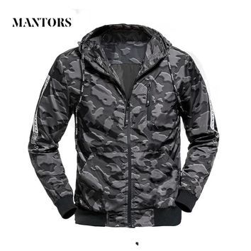 Men Casual Jacket Outwear Hooded Camouflage Bomber Jackets Male Slim Fit Thin Zipper Outerwear Coats Military Waterproof