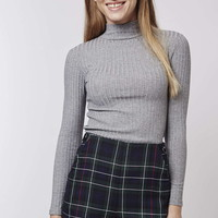 PETITE Rib Roll-Neck Top - Topshop