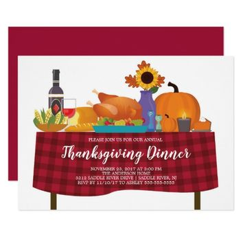 Unique Turkey Dinner Thanksgiving Invitation