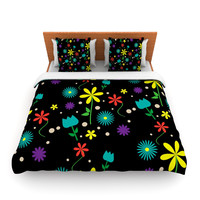 "Louise ""Flower I"" Black Multicolor Lightweight Duvet Cover"