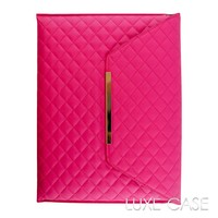 Cute iPhone 6 Cases Luxury Hot Pink Quilted Leather iPad Sleeve Envelope Clutch Pouch - Luxe-Case
