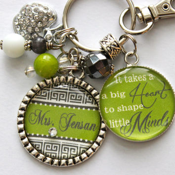 "Teacher Gift Personalized keychain ""It takes a big Heart to shape little Minds"" children nana, mom, gift, present"