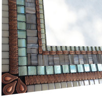 Gray Copper and Aqua Mixed Media Mosaic Wall Mirror