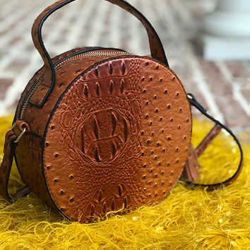 NARNI OSTRICH EMBOSSED ROUND BAG - TAN