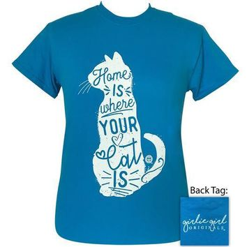 Girlie Girl Originals Preppy Home Is Where Cat Is T-Shirt