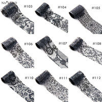 1 roll 4*100CM Holographic Nail Foils Black Lace Flower Nail Art Transfer Foil Feather Snowflake Transfer Sticker Paper