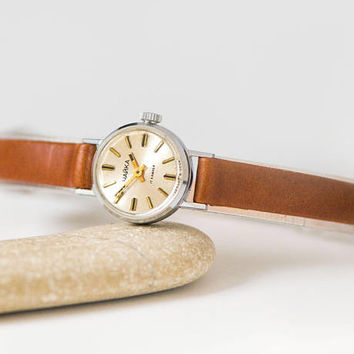 Very small watch for women Seagull, micro watch silver shade minimalist, petite lady watch tiny, classic watch, premium leather strap new