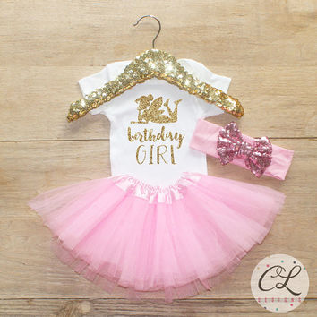 Birthday Girl Tutu Outfit / Baby Girl Clothes 1 Year Old Outfit One Birthday Set 1st Birthday Girl Outfit Fairy Tinkerbell Tutu Bow Set 061
