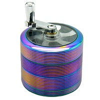 Grinder With Handle 4 Pieces 2.5 Inches Zinc Alloy Crusher Thread Style Tobacco Spice Herb Weed