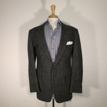 Vintage mens blazer sport coat jacket 80's by Harbor View Black Grey Tweed Herringbone 42