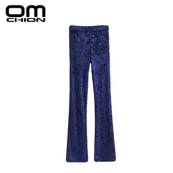 Spring High Waist Pants Women Solid Flare Velvet Trousers Black Green Diamond Velvet Pants