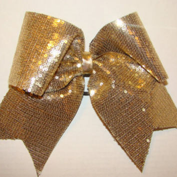 Gold Sequin Cheer Bow