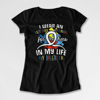 Autism Ribbon Mom Gift Ideas Daddy T Shirt Awareness TShirt Autistic Support Spectrum Charity My Daughter My Hero Mens Ladies Tee DN-681