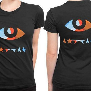 David Bowie Black Star Eye Colour 2 Sided Womens T Shirt