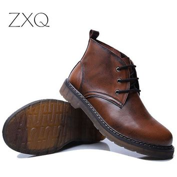 2016 Handmade Men Boots Cowhide Leather Ankle Boots British Style Retro Martin Boots Outdoor Male Footwear
