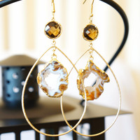 Divinely Radiant Starry Night Geode Druzy Earring - Agate Geode Earrings - Druzy - Quartz