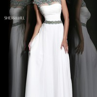 Long Ivory Open Back Gown with Cap Sleeves