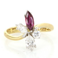 Vintage Natural Ruby Diamond Cocktail Ring 18 Karat Yellow Gold Estate Jewelry Fine